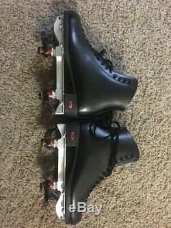 7 W Blk Leather Riedell model 120 skate boots with powerdyne reactor neo plates