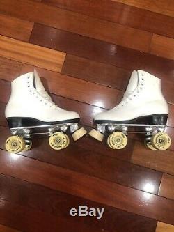American Artistic Roller Skate Package White Leather Roller Skates Women's 5