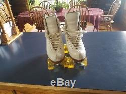 Artistic Women's Roller Skates, 8 Gold Star Boot, Atlas Plates, Bones Wheels