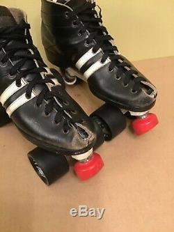 Men's Riedell Old School Indoor Roller Skates with Sure Grip Skins Plates sz 7