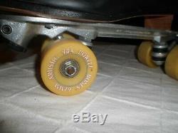 Men's Vintage Riedell Roller Skates Sure Grip Bones Artistic Hard Case Sz 13