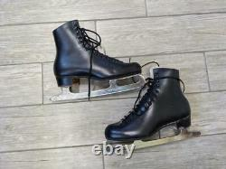 Mens 220 vintage RIEDELL ice skates 10 black leather RED WING roller skate boot