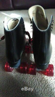 Mens 7 Womens 9 blk leather Riedell custom roller skates withelite bone wheels