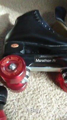 Mens 7 Womens 9 blk leather Riedell custom roller skates withelite bone wheels
