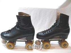 Mens Black Leather RIEDELL 297 Quad Roller Skates Size 7 1/2 Sure Grip Classic