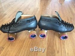 Mens Size 10 Riedell Speed 595 Black Roller Skates Shaman Wheels