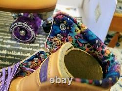 Moxi Beach Bunny Peach Blanket Roller Skates Size 7 (w8-8.5) Riedell