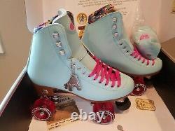 Moxi Beach Bunny Roller Skates Blue Sky Size 9 (w10-10.5)x Impalla Riedell Sure
