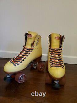 Moxi Beach Bunny Roller Skates Strawberry Lemonade Yellow Rainbow Size 9 USED