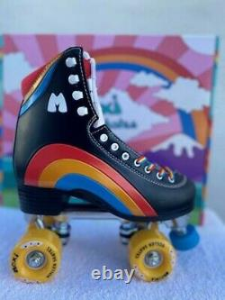 Moxi Black Rainbow Riders Roller Skates Size 6, Women Size 7 7 1/2 NEW