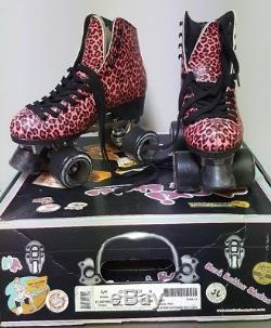 Moxi Ivy City Outdoor Quad Roller Skates Pink Leopard Print Size 6 NIB C5