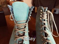 Moxi Lolly Floss Suede Roller Skates Used 2x With Box Riedell 10 Roller Skates