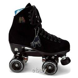 Moxi Lolly Roller Skates Black Suede Riedell Lolly Size 8, fits Womens 9 NEW