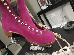 Moxi Lolly Suede Fuchsia Roller Skate Boots Only! Women Size 8