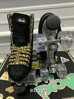 Moxi Panther Roller Skates Black Suede Riedell Lolly Size 7 (Womens 8-8.5)