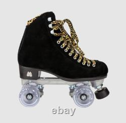 Moxi Panther Roller Skates Black Suede Riedell Size 7 (Womens 8-8.5) New