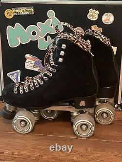 Moxi Panther Roller Skates Black Suede Riedell Size 7 fits Womens 7-8 Leopard