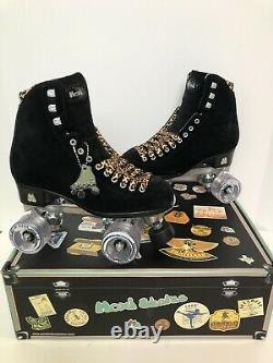 Moxi Panther Roller Skates Size 7 (Womens 8-8.5) Black Suede Riedell Lolly