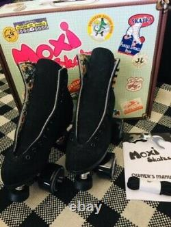 NEW MOXI LOLLY BLACK SUEDE Roller Skates Size 6 (7-7.5 W)