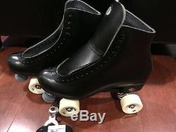 NEW! RIEDELL 120 RAVEN BLACK ROLLER SKATES MEN's sz 12.5 D Width QUAD $280 no box