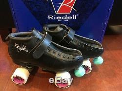NEW! RIEDELL 126 SHE DEVIL ROLLER SKATES BLACK WOMEN's sz 8 B/D Width QUAD $350