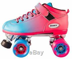 NEW! Riedell Dart 2 Tone Pink & Blue Ombre Quad Roller Speed Skates Kids & Adult