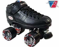 NEW Riedell R3 Black Quad Roller Derby Speed Skates