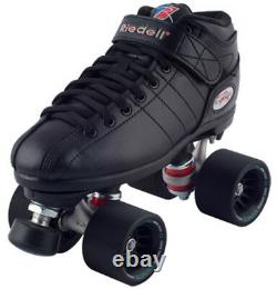NEW! Riedell R3 Demon EDM Quad Roller Derby Speed Skates Black on Black