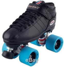 NEW! Riedell R3 Demon EDM Quad Roller Derby Speed Skates Black on Ice Blue