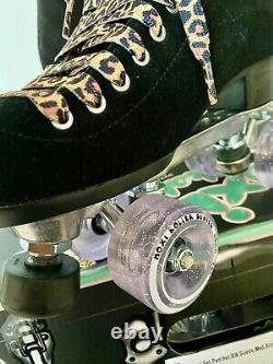 New Moxi Black Suede Panther Roller Skates Size 6 fits 6.5-7.5 Sparkle Lolly