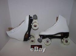 New Riedell 120 White Custom Leather Roller Skates Ladies 10