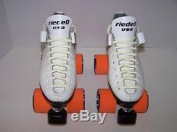 New Riedell 125 Labeda Custom Leather Roller Skates Mens Size 4 (ladies 5)