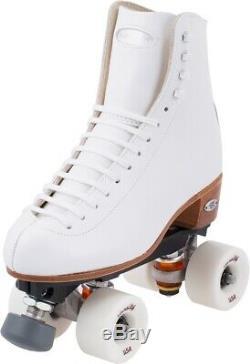 New Riedell 220 Epic Artistic Roller Skates White sz 8.5 Medium $450 value