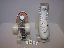 New Riedell 220 White Custom Leather Roller Skates Ladies 6