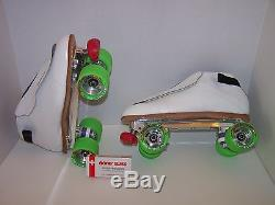 New Riedell 395 Powertrac Custom Leather Roller Skates Mens Size 11.5