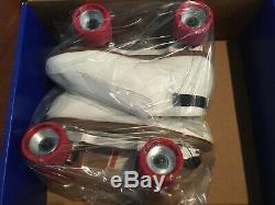 New Riedell 395 Quest Roller Skates White sz 9.5 Medium $600 value