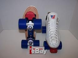 New Riedell 595 Powertrac Custom Leather Roller Skates Mens Size 10.5