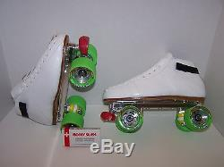 New Riedell 595 Powertrac Custom Leather Roller Skates Mens Size 9