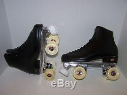 New Riedell F117 Black Custom Leather Roller Skates Men's Size 8