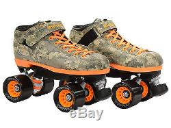 New Riedell R3 Green & Orange Digital Camo Quad Roller Derby Speed Skates
