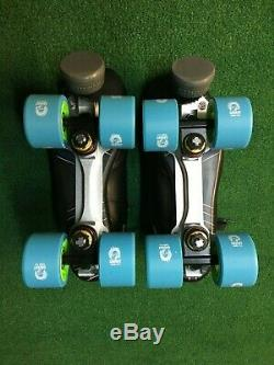New Riedell Solaris Black Quad Roller Skate Size 6.5 C/aa Reactor Neo Plate