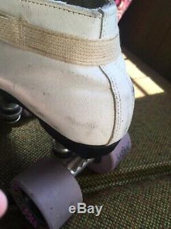 Old White riedell USA White Roller Skates Psycho Pig Wheels VTG Unisex