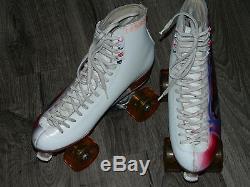 RARE Vintage Riedell Womens White CUSTOM Roller Skates Powell Bones 101A Size 8