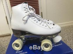 RIEDELL F-121 White Indoor Quad ROLLER SKATES 8 M All Original Parts ONE OWNER