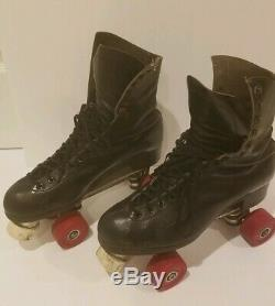 RIEDELL RED WING ROLLER SKATES SZ9.5 Red WHEELS CHICAGO TROPHY BONES Custom Line