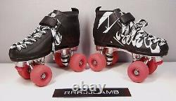RIEDELL VIXEN 165 Black Quad Speed ROLLER DERBY SKATES Pink Wheels Womens 6