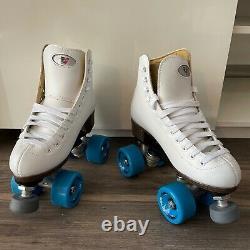 Riedell 111W Roller Skates White Blue Zen Sonar Wheels Women's Size 5 NWOB