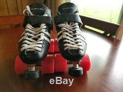 Riedell 126 Black Leather She Devil Derby Roller Skates Women's Size 6