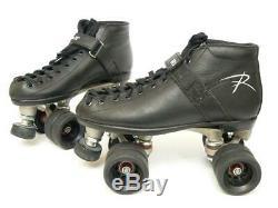Riedell 165 Vixen Black Leather Speed Roller Derby Skates Men's 7 L@@K
