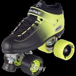 Riedell 2 Tone Dart Black & Green Ombre Quad Roller Speed Skates